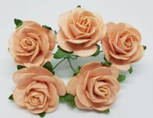 PALE PEACH ROSES (2.5 cm) Mulberry Paper Roses (Previously known as 3.0 cm)